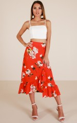 If You Wait skirt in red floral
