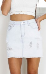 Love Me Back denim skirt in light blue