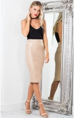 On Fleek skirt in beige leatherette