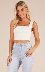 Strong Heart crop top in white
