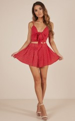 Follow Me two piece set in red polka dot