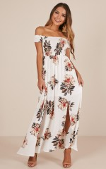 Daytime Dancer maxi dress in cream floral