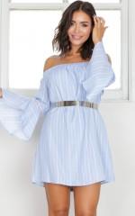 Stripe Her Down dress in blue stripe
