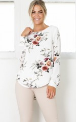 Present Tense top in white floral