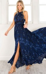 Run Alone Maxi Dress in navy print