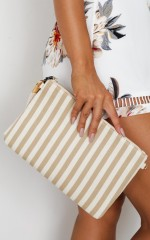 Six Weeks Clutch in beige stripe