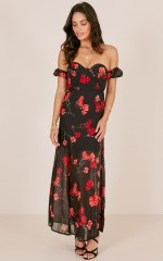 Told You So dress in black floral