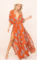 Vacay Ready Maxi Dress in rust floral