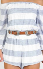 Walk And Talk belt in tan and silver