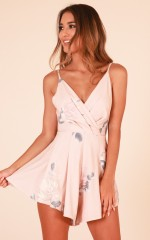Want or Need playsuit in blush floral