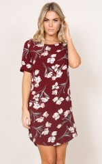 Way It Is shift dress in wine floral