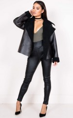 What I Like shearling biker jacket in black