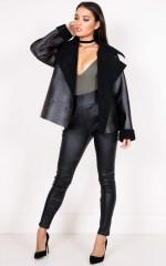 What I Like shearling biker jacket in black