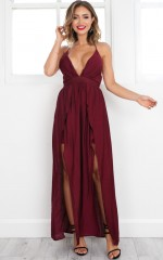 Wont Stop maxi dress in wine