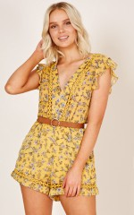 Yellow Brick Road Playsuit in yellow floral