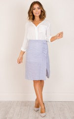 You Are Irreplaceable skirt in blue and white stripe