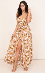 You Like Me Too Much maxi dress mustard floral