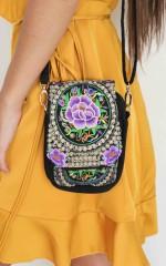 Rubirosa bag in purple embroidery