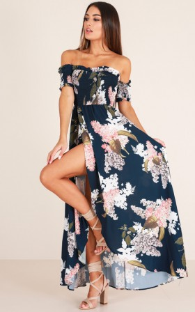 Polyester Floral Print Summer Maxi Dress