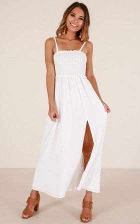 Slit Shirred Button Closure Summer Maxi Dress