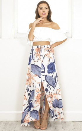 Gone Are The Days maxi skirt in blue floral