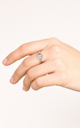 Dancing Moon And Star ring in silver