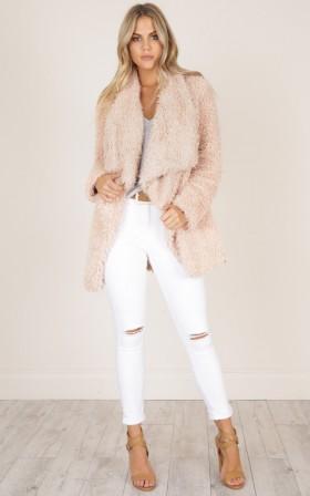 Driven Down coat in blush