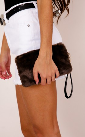 Like You Do faux fur clutch in brown