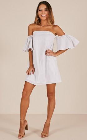 Flare To Spare dress in white stripe