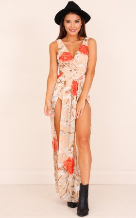 Back Zipper Glittering Polyester Summer Floral Print Bodysuit/Maxi Dress