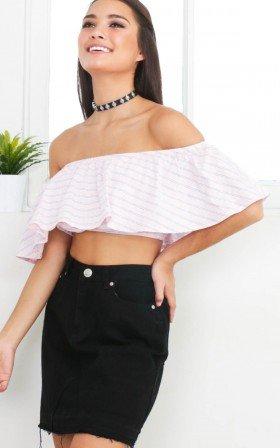 Jamie crop top in pink stripe