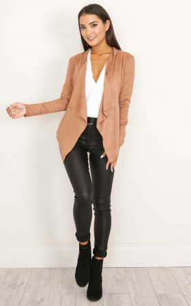 Running Back to You jacket in tan suedette