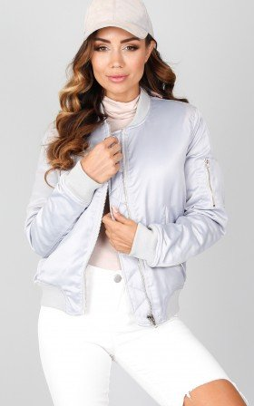 Sweet Thoughts Bomber Jacket in grey sateen
