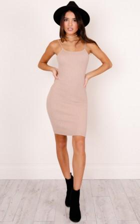 Sash knit dress in blush