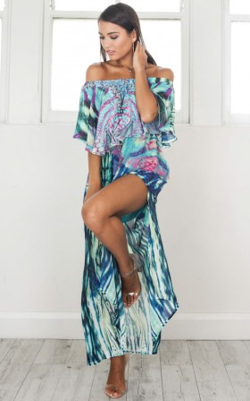 Show Me Better Maxi Dress in blue print