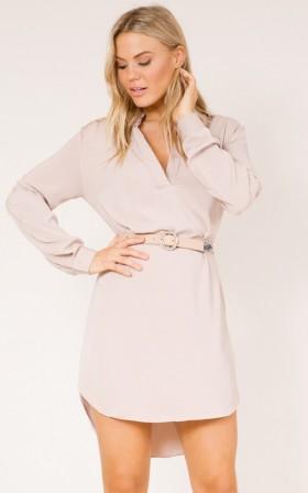 So Frenchy shirt dress in mocha