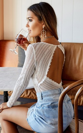 Straight To My Heart bodysuit in white lace