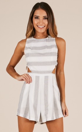 The Reader playsuit in grey stripe