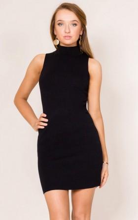 Modest High-Neck Bodycon Dress/Little Black Dress