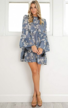Mind Of Mine Dress in blue print