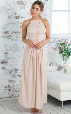 Sophisticated Gathered Flowy Halter High-Neck Maxi Dress