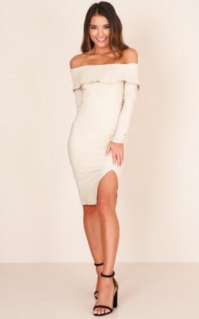 Color beige semi-formal dress