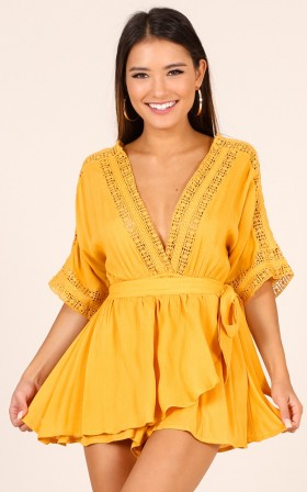 Cinnamon Sugar playsuit in mustard