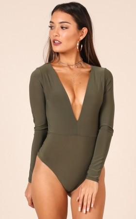 Tell You Something bodysuit in khaki
