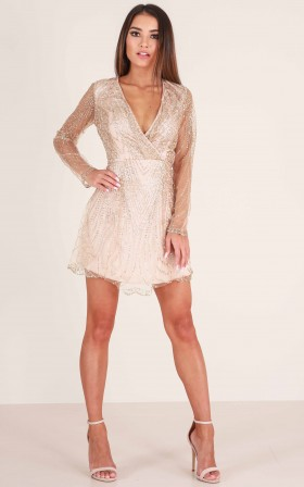 Dreamy Nights dress in gold sequin