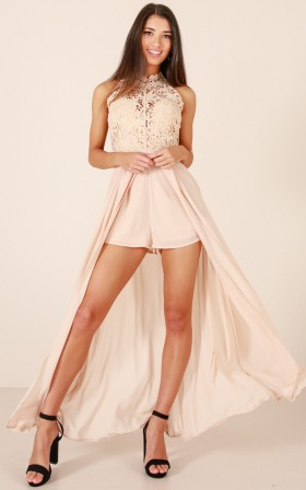 If Im Lucky maxi playsuit in beige