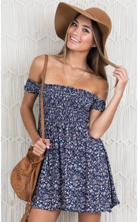 Bold Shoulder dress in navy floral