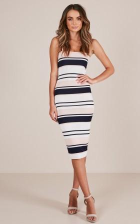 Blurred Lines dress in blush stripe