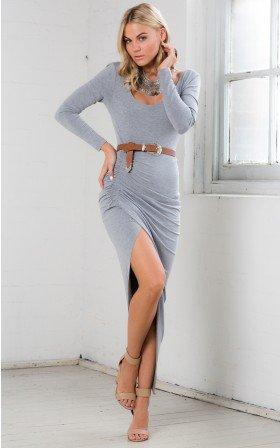 Sexy Slit  Long Sleeves   Dress