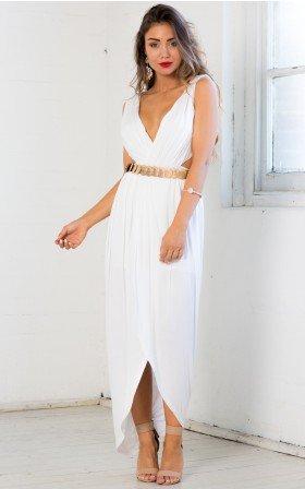 Cutout Jeweled Illusion Grecian Maxi Dress